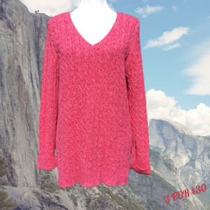 Long Cableknit Sweater V-Neck Long Sleeve L